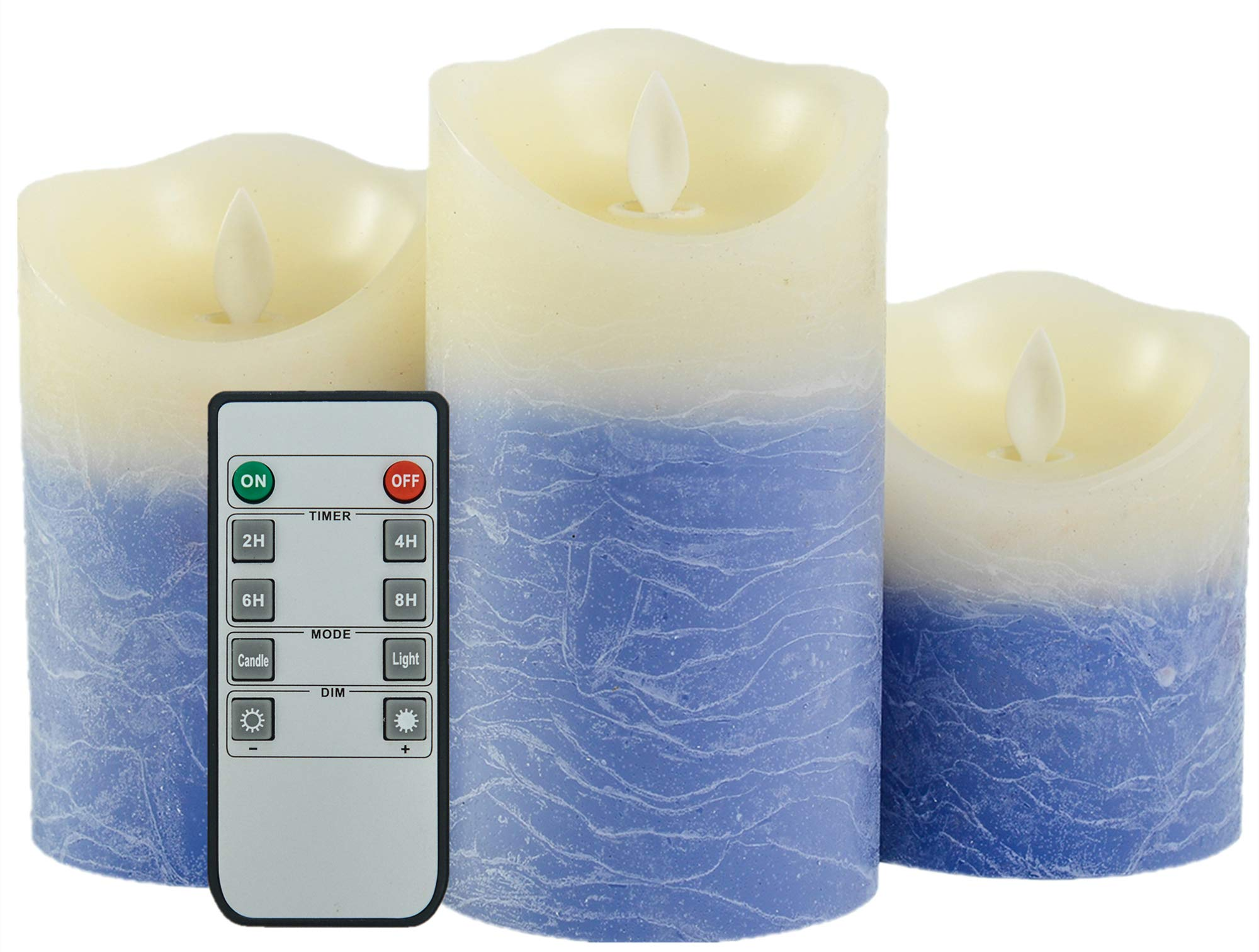 Iovin Water Wave Grain Flameless Candles Set of 3.15'' (Size:4'' 5'' 6'') Battery Operated LED Pillar Candles with Moving Flame Wick Timer,Wave Top(Blue&Ivory)
