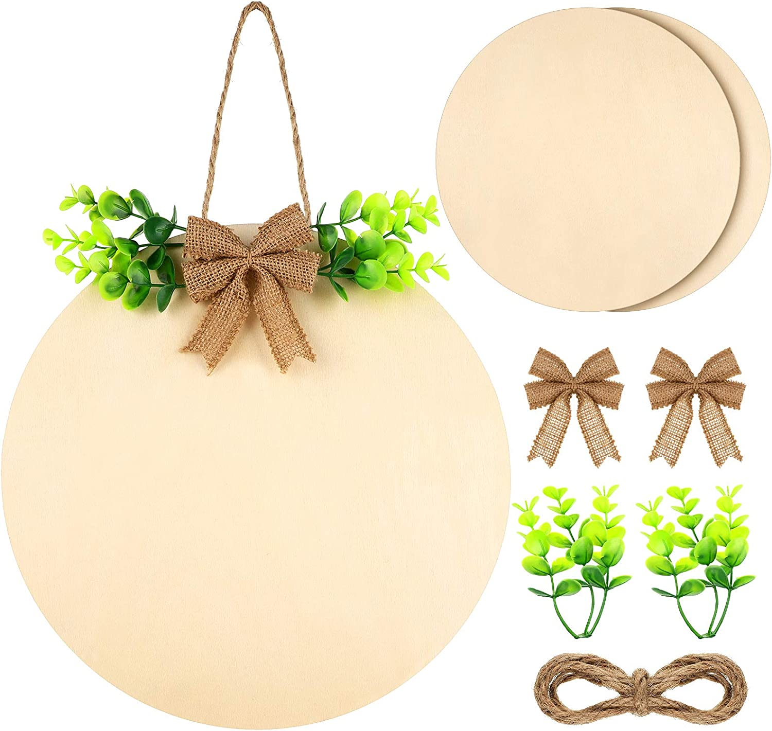 2 Sets 12 Inch Unfinished Wood Round Cutout for Fall Christmas Decor, Outdoor Yard Decoration Kit