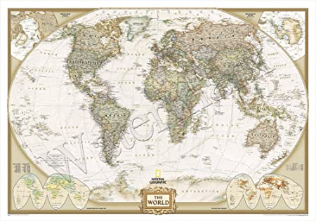 Vintage world map a1 a2 a3 poster geography history country amazon vintage world map a1 a2 a3 poster geography history country gumiabroncs Images