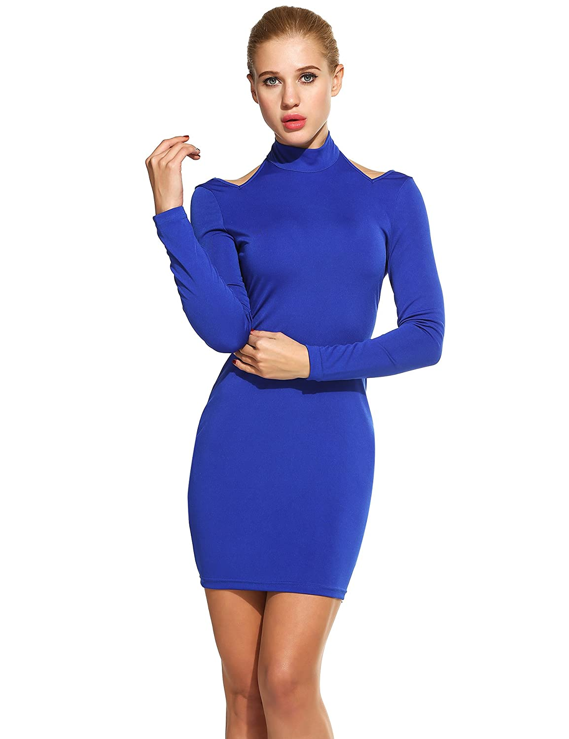 ACEVOG Women's Sexy Off Shoulder Halter Backless Bodycon Party Bandage Club Dresses