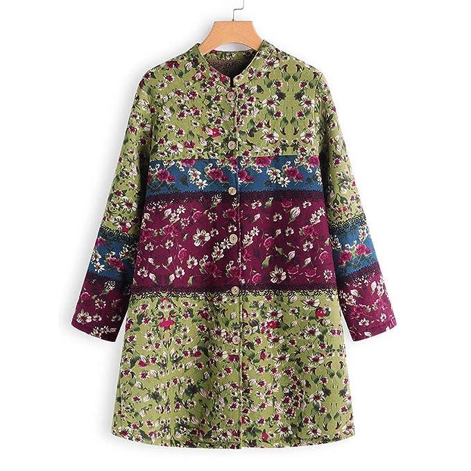 Amazon.com: AOJIAN Women Jacket Long Sleeve Outerwear Vintage Floral Print Button Oversize Coat Green: Clothing