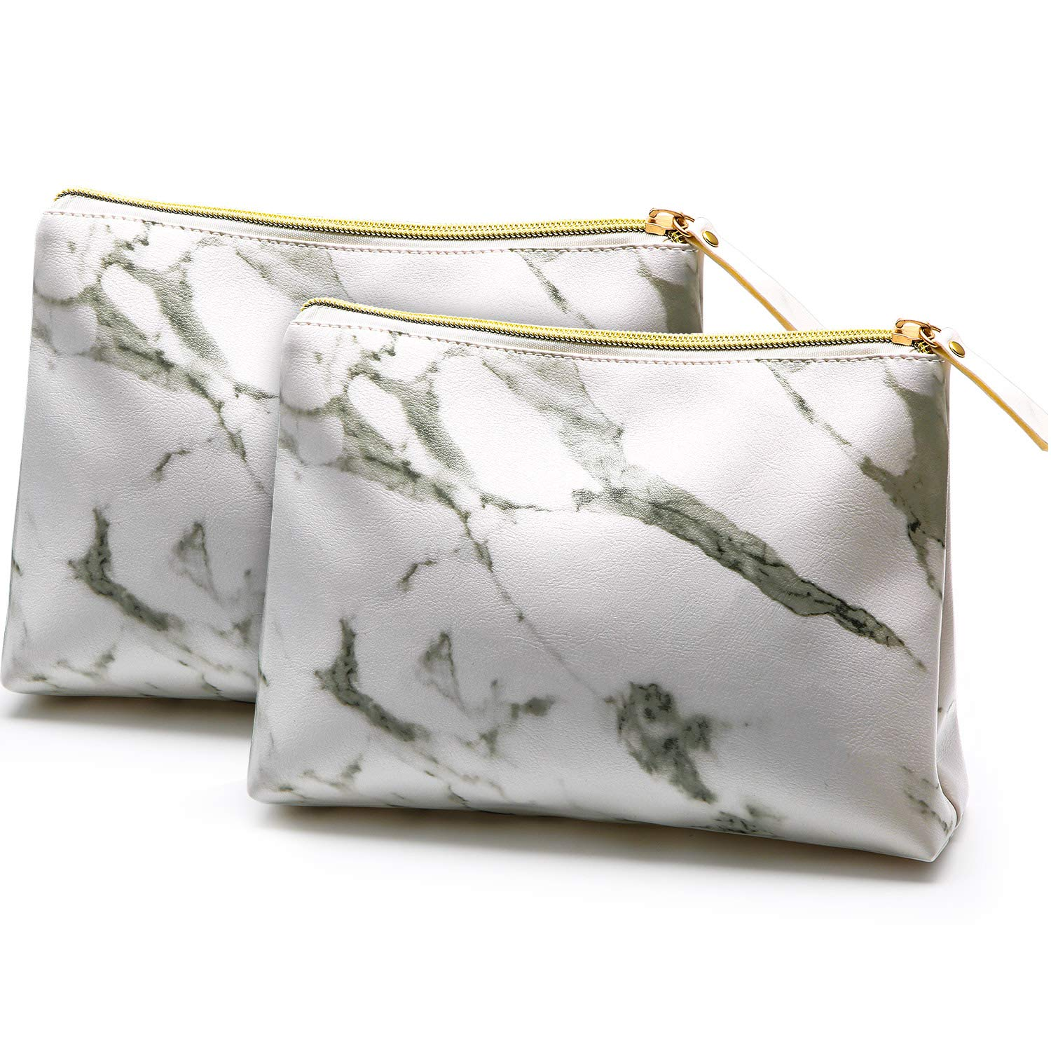 2 Pieces Marble Makeup Bags Portable Zipper Cosmetic Bags Toiletry Travel Storage Pouches for Traveling Storage (White)