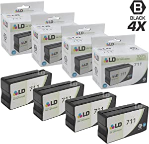 LD Remanufactured Ink Cartridge Replacement for HP 711 CZ133A High Yield (Black, 4-Pack)