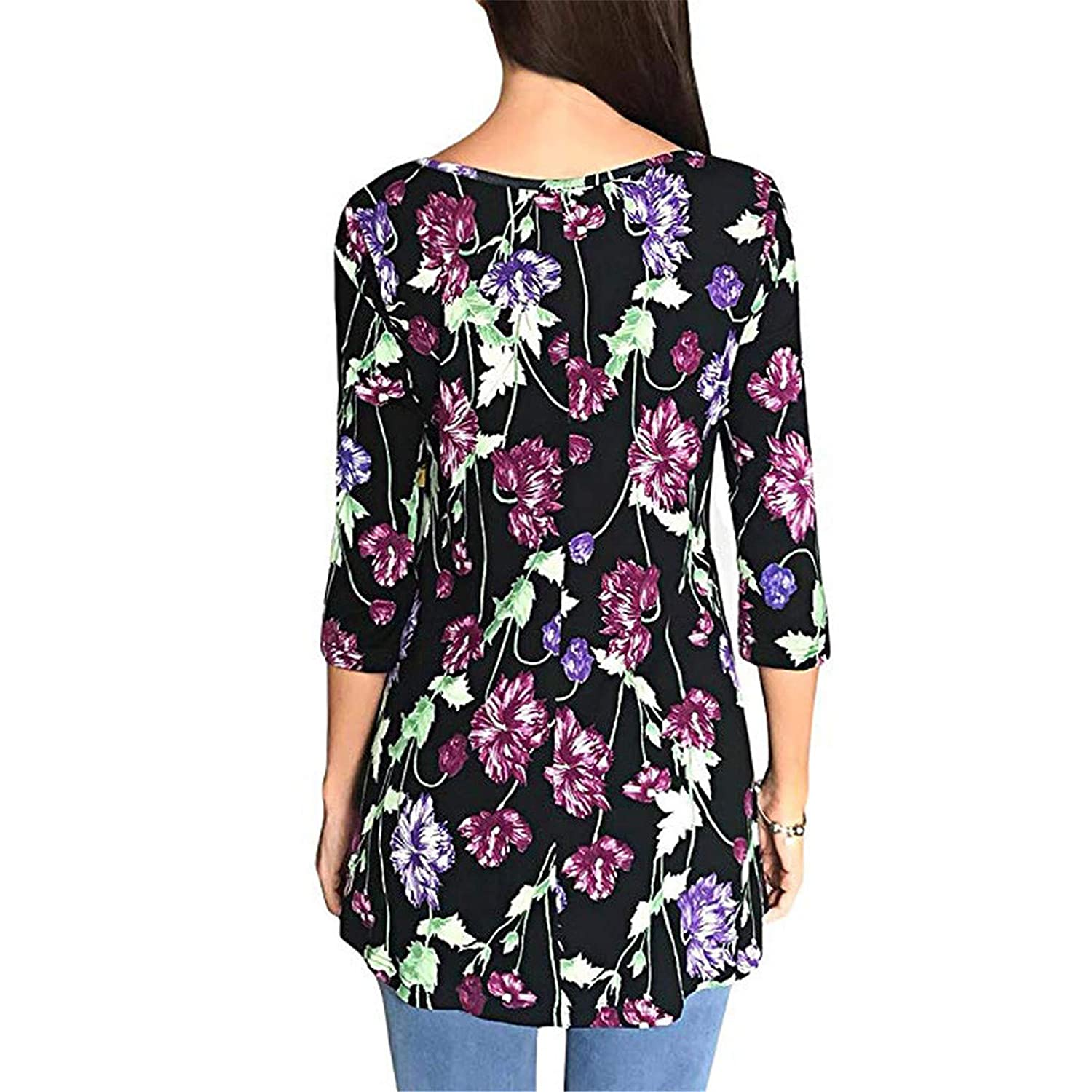 TIFENNY Womens Fashion Casual Floral Print Shirts 3//4 Sleeves O-Neck Tunic Blouse Spring Vintage Tops