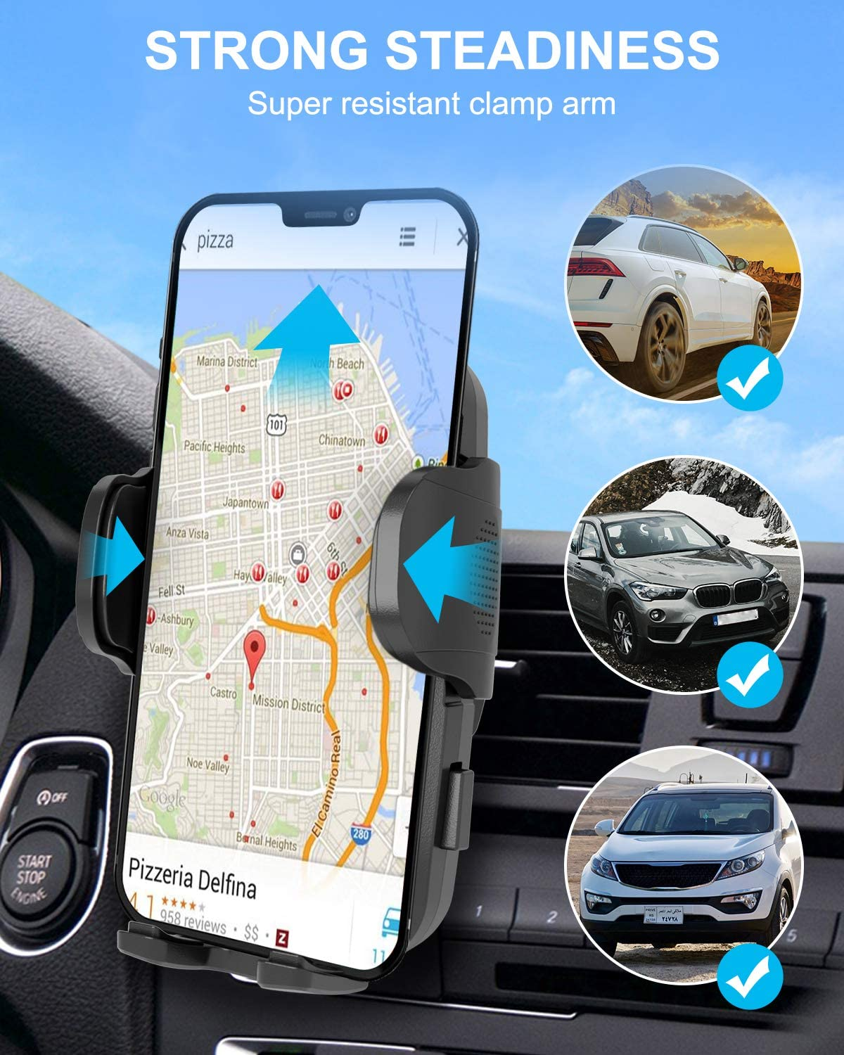 ANDOLO Car Phone Mount Air Vent Thick Case /& Big Phones Friendly Universal Hands-Free Phone Holder for Car Anti-Shake Stabilizer Adjustable Clip Cell Phone Holder Compatible with All Mobile Phones