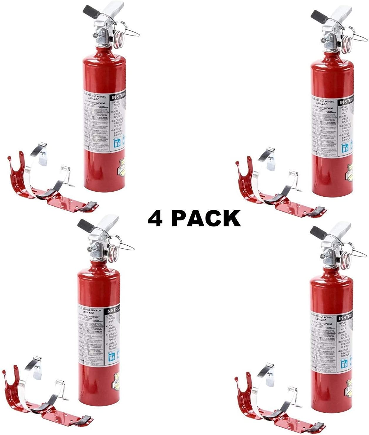 (4 Pack) 2.5 lb Fire Extinguisher ABC Dry Chemical Rechargeable w/Bracket New UL