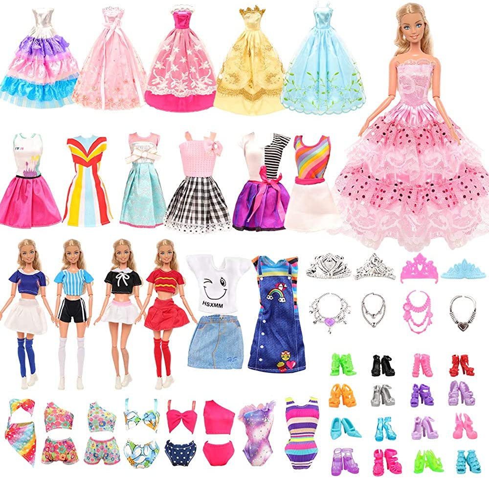 Barwa 41 Doll Clothes Accessories 5 Party Gown 5 Dresses 4 Cheering Wear 5 Swimsuit Bikini 10 Shoes 12 Accessories for Barbie