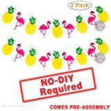 Flamingo and Pineapple Banner Garland - No DIY Required, 2 Pack | Felt Banner | Flamingo Party Supplies | Pineapple Party Decor for Hawaiian Luau Party Supplies | Beach Summer Tropical Party Theme