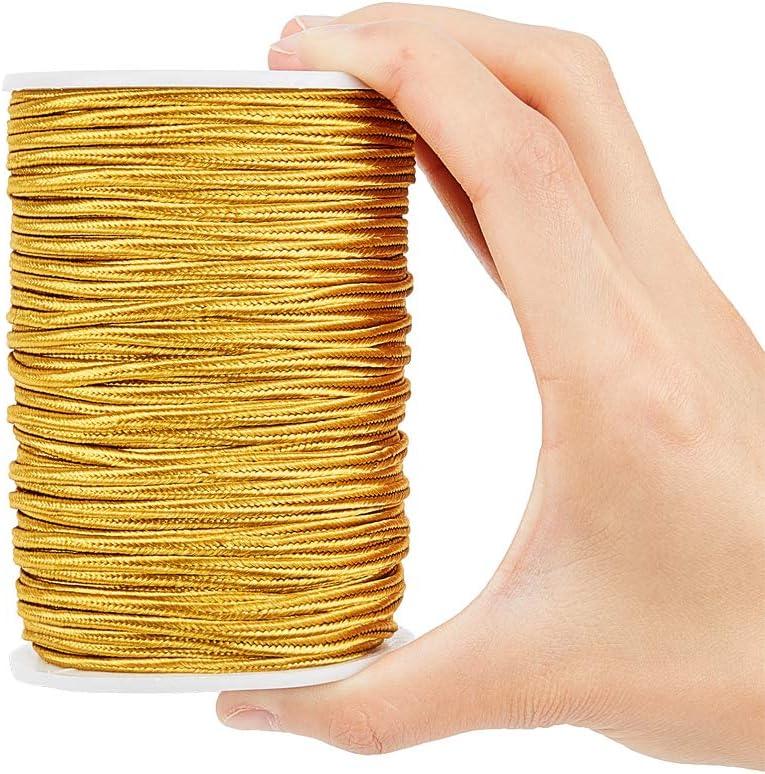 color dorado PandaHall Cord/ón de poli/éster trenzado plano de 3 mm para acolchar recortar manualidades
