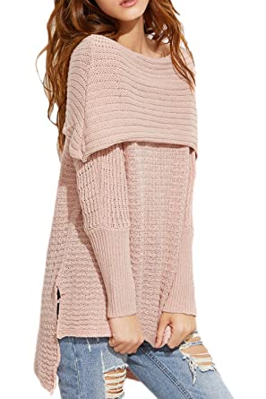 404cb5df066060 Women Winter Long Sleeve Off The Shoulder High Low Slit Knit Pullover  Sweater Top Pink One