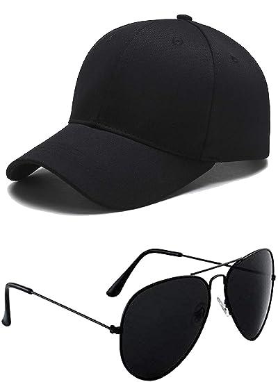 1ab8abb0c27 SHVAS Combo of Unisex Black Cap + Unisex Black Aviator Sunglasses   BLACKCAPAV001COMBO   Amazon.in  Clothing   Accessories