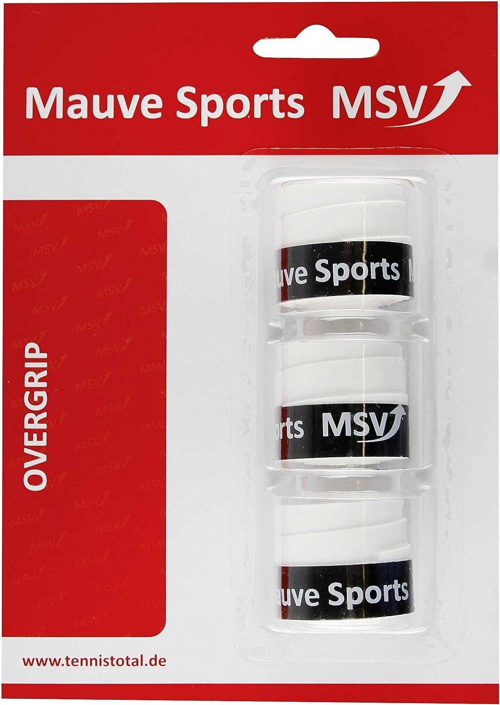 MSV Overgrip Prespi-Absorb 3er Pack - Mango de Raqueta de Tenis, Color Blanco, Talla Standard