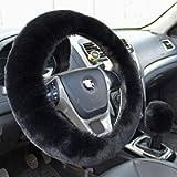 Valleycomfy Fashion Steering Wheel Covers for Women/Girls/Ladies Australia Pure Wool 15 Inch 1 Set 3 Pcs, Purple