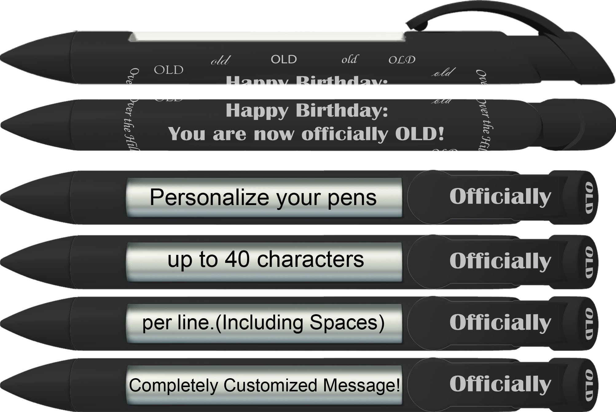 Party Pen by Greeting Pen- Personalized Over the Hill Rotating Message Pen -100 pack- P-PP-102-100