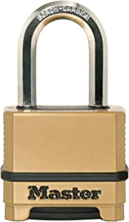 Lucchetto da Esterno ad Alta Sicurezza Excell Antiruggine, Serratura a Combinazione Arco Lungo, Corpo in Zinco, Finitura in Ottone, 50Mm
