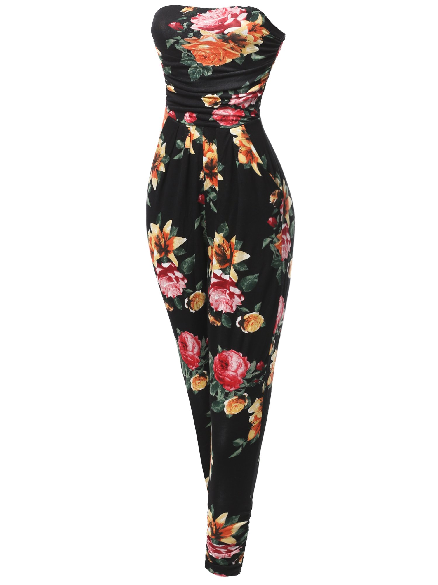 Made by Emma Casual Cute Sexy Side Pockets Shirring Stretchable Floral Tube Top Jumpsuit L
