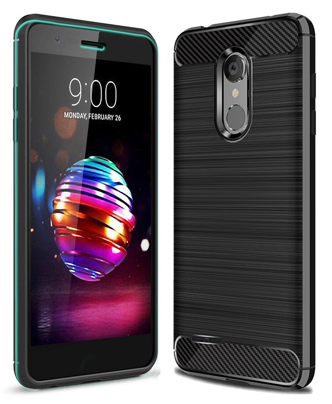 LG K10 2018 Case, LG K30 Case with HD Screen Protector Ucc Frosted Shield Luxury Slim TPU Bumper Cover Carbon Fiber Design and Anti-Scratch and Non-Slip Case Cover for LG K10 2018 (Black)