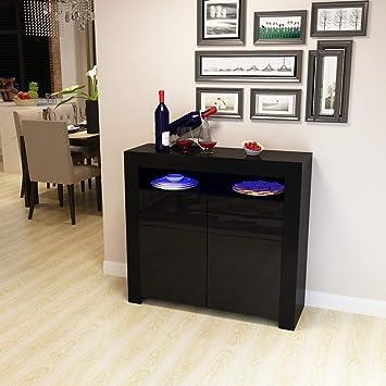 Blackpoolal Cozime Moderne Stil Schrank Kommode Matt Body Glossy Fronten  LED Lampe Wohnzimmer Möbel TV