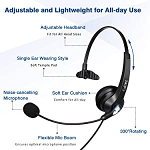 USB Headset with Microphone Noise Cancelling & Audio Controls, Wideband Computer Headphones for Business UC Skype Lync Softphone Call Center Office, Clearer Voice, Super Light, Ultra Comfort (Color: 500U2)