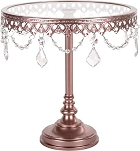 Amalfi Decor Cake Stand, Glass Top Tall Round Metal Pedestal Holder with Crystals, Rose Gold, 10 Inches