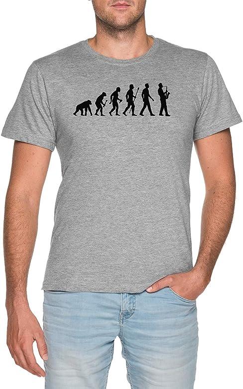 Camiseta Saxofón Tamaño Gris Gracioso De L Hombre Evolución wnP0Xk8O