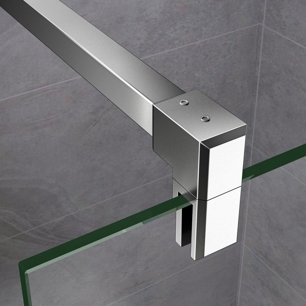 Paroi de douche 1400x2000x10mm en verre anticalcaire Walk in paroi de fixation avec barre de fixation la pince 360/° 90cm