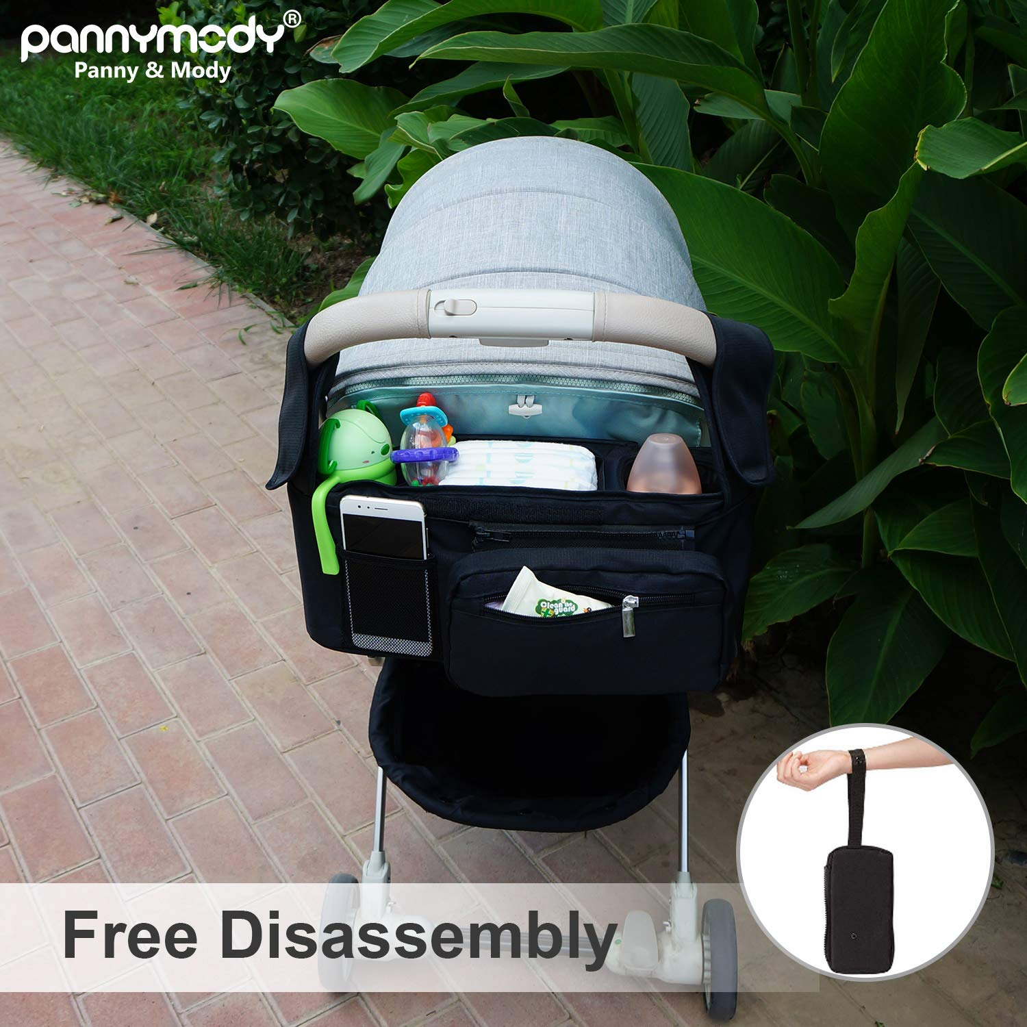 Detachable Phone Bag /& Shoulder Strap Secured Fit Universally fit for All Brand Baby Strollers Panny /& Mody Upgrade Stroller Organizer with Cup Holders Extra Storage Easy Installation