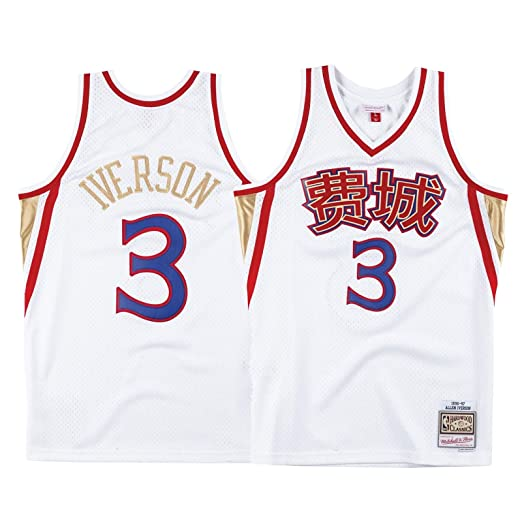 8c8d060bd544 Image Unavailable. Image not available for. Color  Mitchell   Ness Allen  Iverson Philadelphia 76ers NBA Men s White 1996-97 Chinese New Year