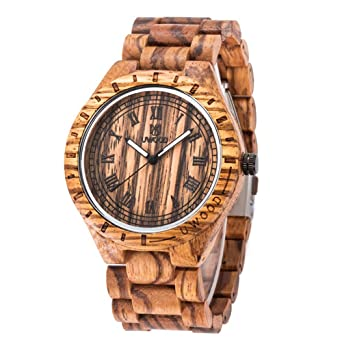amazon com ideashop mens wooden watch zebrawood hypoallergenic ideashop mens wooden watch zebrawood hypoallergenic watch analog ese miyota quartz wood watch