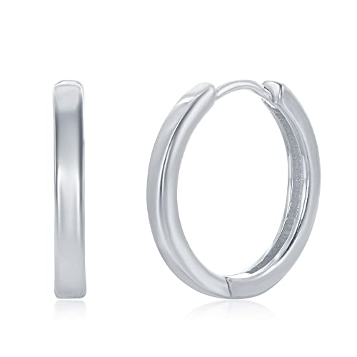 336cc73c5 925 Sterling Silver Hoop Earrings for Women Girls Earrings Rounded Huggies  for Men (20mm Silver