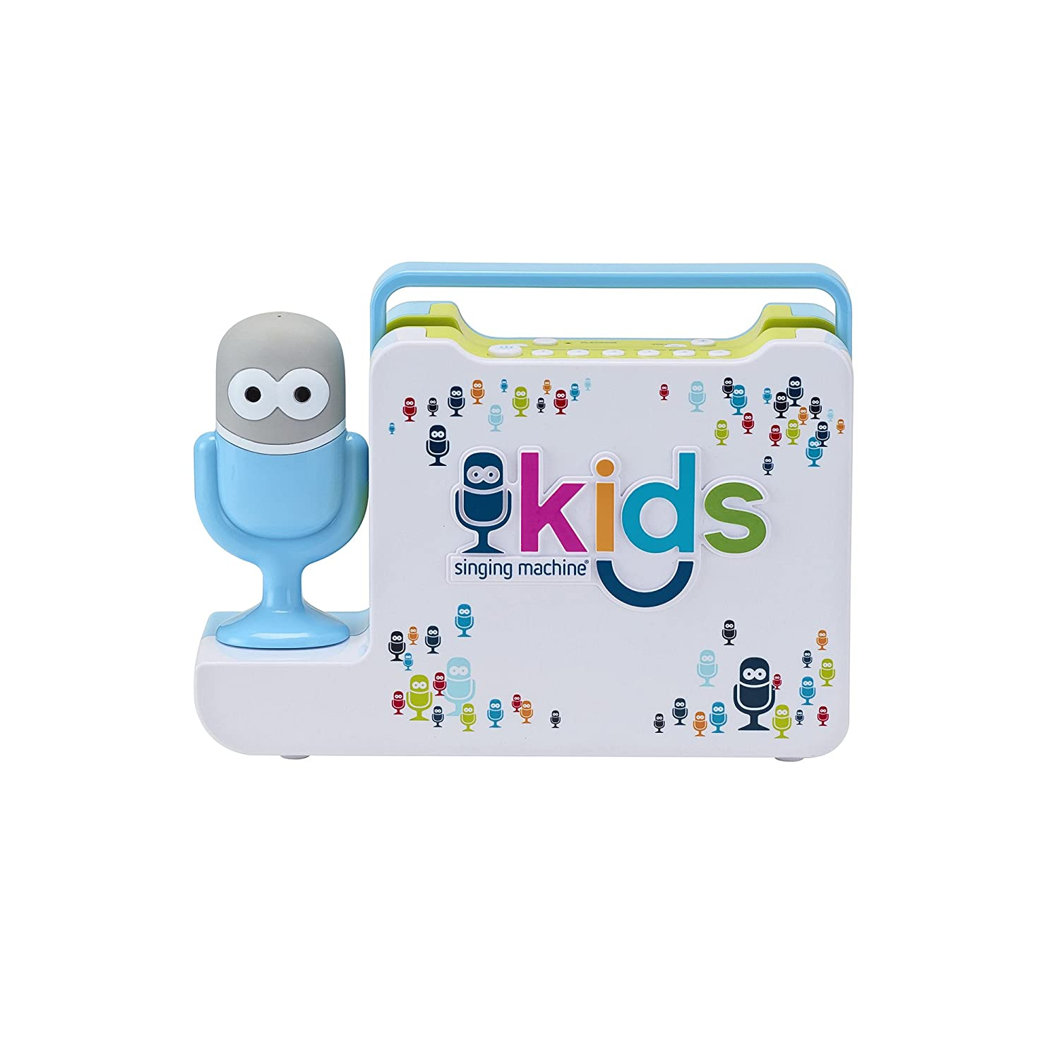 Singing Machine Kids Portable Bluetooth Sing-Along Speaker with Mic Guy Wired Microphone