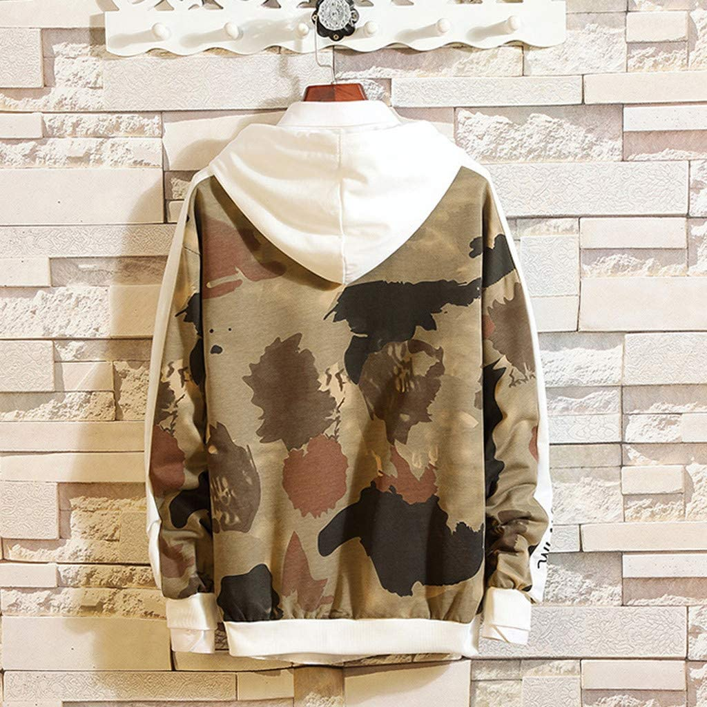 Mens Casual Fashion Camouflage Printing Hoodie Long Sleeves Sweatershirt Tops