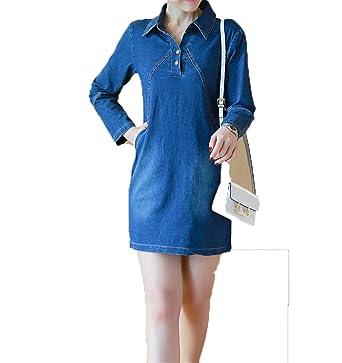 beba076c2d9 Rankei Blue Denim Dress Women Long Sleeve Office Denim Dresses with Pockets  Overalls Jeans Dress