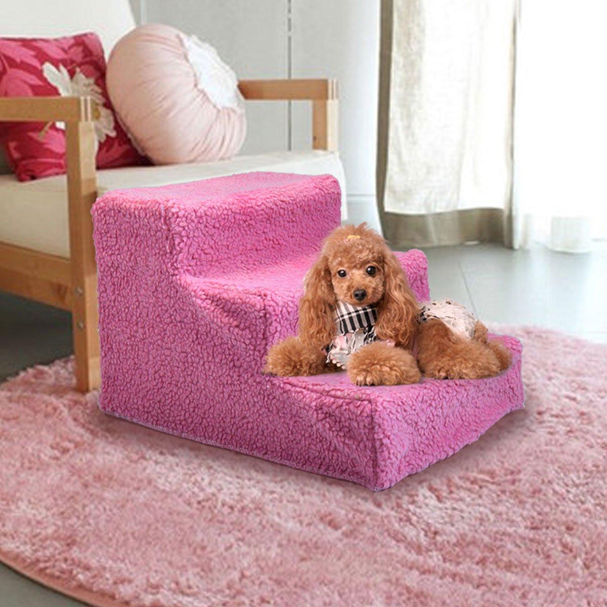 Tobbi Pet Stairs 3 Steps Indoor Dog Cat Steps Removable Washable Pets Ramp Ladder Pink by Tobbi (Image #3)