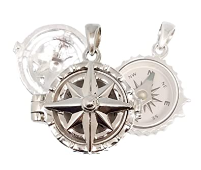e206826ef8413 Amazon.com: Stanley London Sterling Silver Compass Rose Locket with Working  Compass (Locket Only No Chain or Personalization): Jewelry