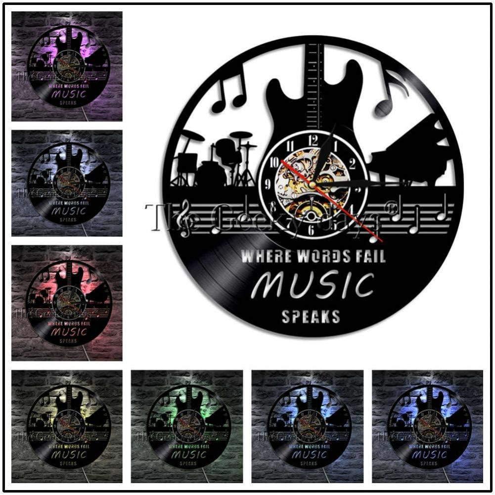 LQGZ Reloj De Pared 1 Pieza Acústica Cuerdas De Instrumentos Musicales Música Rock Guitarrista Reloj De Pared Telecaster Guitarra Reloj De Pared Decorativo