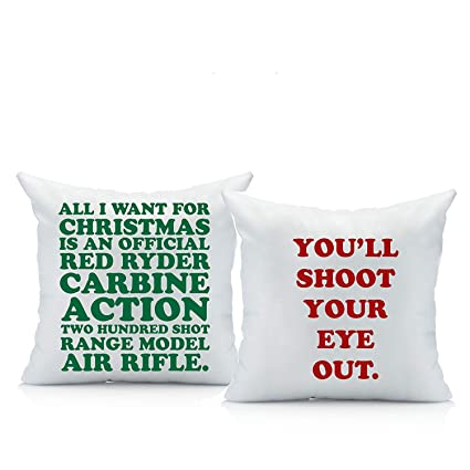 oh susannah christmas story throw pillow cover set two 18 by 18 inch pillow - Christmas Story Decorations