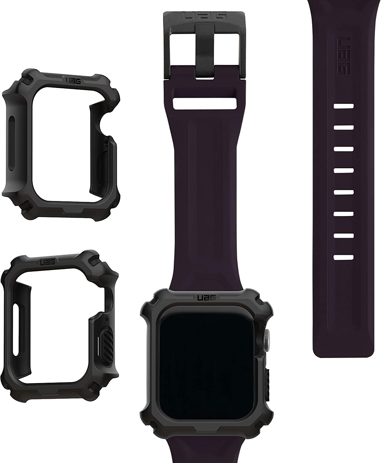 UAG Apple Watch Band 44mm 42mm, iWatch Series 6/5/4/Watch SE Replacement Strap, Scout Eggplant + Apple Watch Case 44mm, iWatch Series 6/5/4/Watch SE Protective Bumper Case, Black/Black