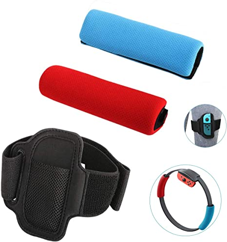 KONEE Accesorios Compatible con Nintendo Switch Ring Fit Adventure, Incluye 2 Cubiertas de Agarre Suave (Rojo + Azul), 1 Correa de Pierna Ajustable (No incluye Juegos, Joy-con y Ring-Con): Amazon.es: Videojuegos
