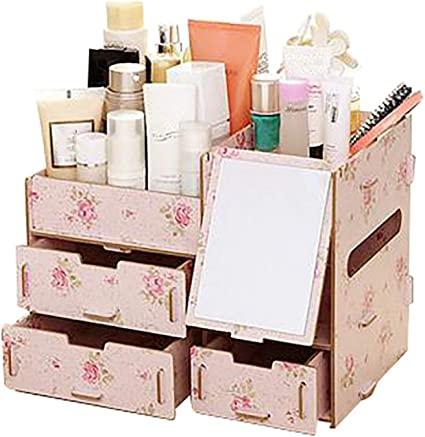 Amazon Com Makeup Organizer Case Wooden Office Table Storage Box Container Handmade Diy Assembly Wood Jewelry Cosmetic Organizer Mirror 3 Office Products