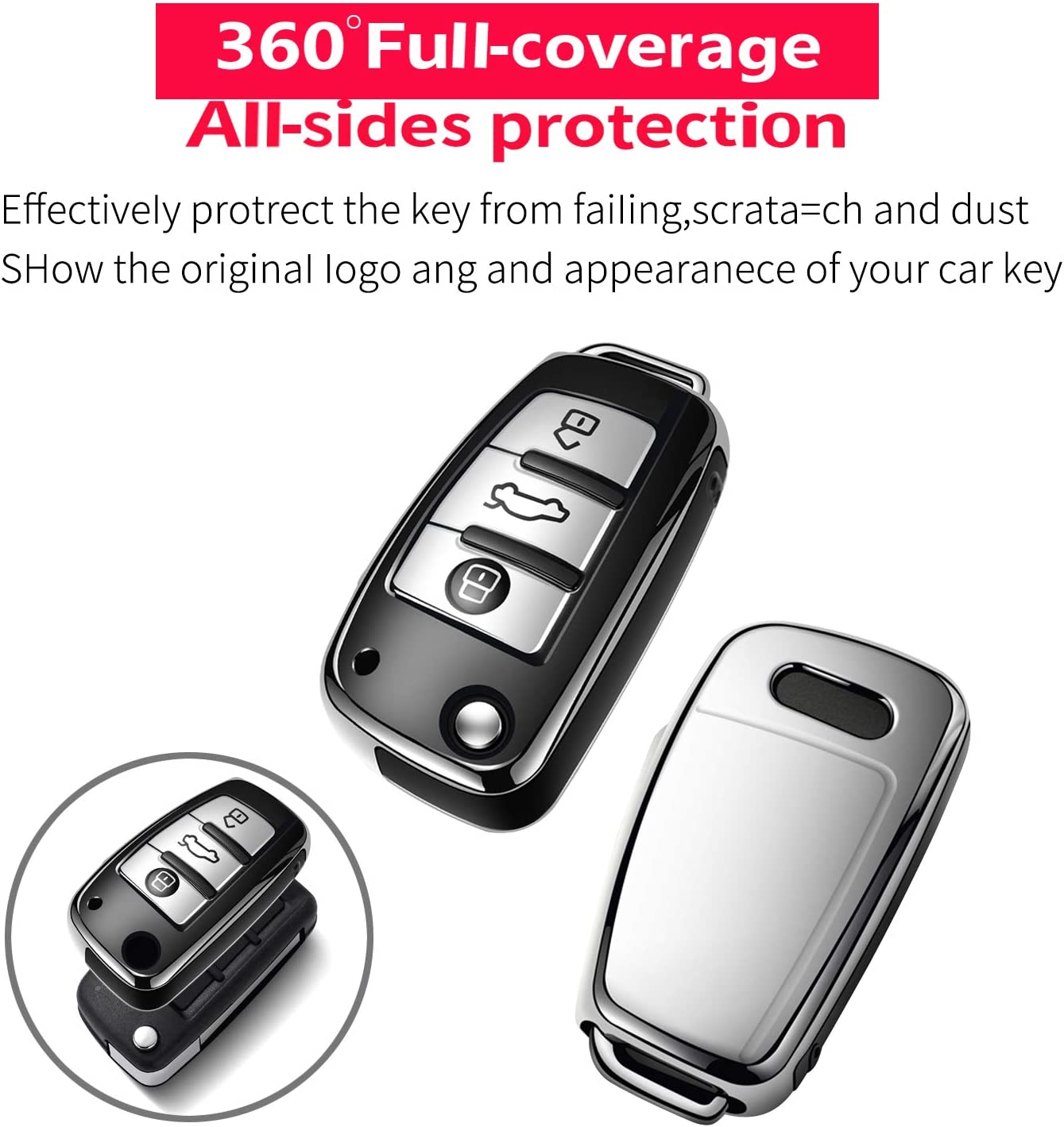 only for Flip Key 3 Buttons -Rose Gold Tukellen for Audi Key Fob Cover Case,Premium Soft TPU 360 Degree Full Protection Key Shell Key Case Cover Compatible with Audi A1 A3 Q3 Q7 R8 A6L TT