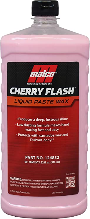Malco Cherry Flash Automotive Liquid Paste Wax – Protect & Shine Your Vehicle / Easiest Way to Hand Wax Your Car / Lasting Gloss & Protection For Cars, Trucks, Boats and Motorcycles / 32 Oz. (124832)