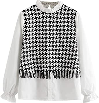 Verdusa Women's Elegant Frilled Mock Neck Houndstooth Fringe Shirt Blouse Top