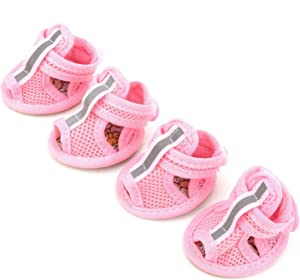 PEGASUS SELMAI Reflective Dog Sandals Pet Shoes Breathable Soft Mesh Anti Skid Doggy Boots for Puppies Paw Protector Soft Rubber Sole for Walking Hot Pavement Nonslip 5 Sizes Leisure Cool Summer