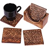 Mothers Day Gifts Rustic Wooden Set of 4 Square Drink Coasters for Tea Coffee Beer Mug Wine Glass with Holder Hand Carved with Floral Motif Barware Kitchen Dining Accessories