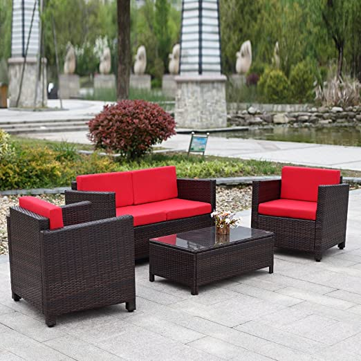 ikayaa 4pcs salón de jardín de resina trenzada Patio exterior muebles (Set jardín césped sofá sofá ratán Set armadura: Amazon.es: Jardín