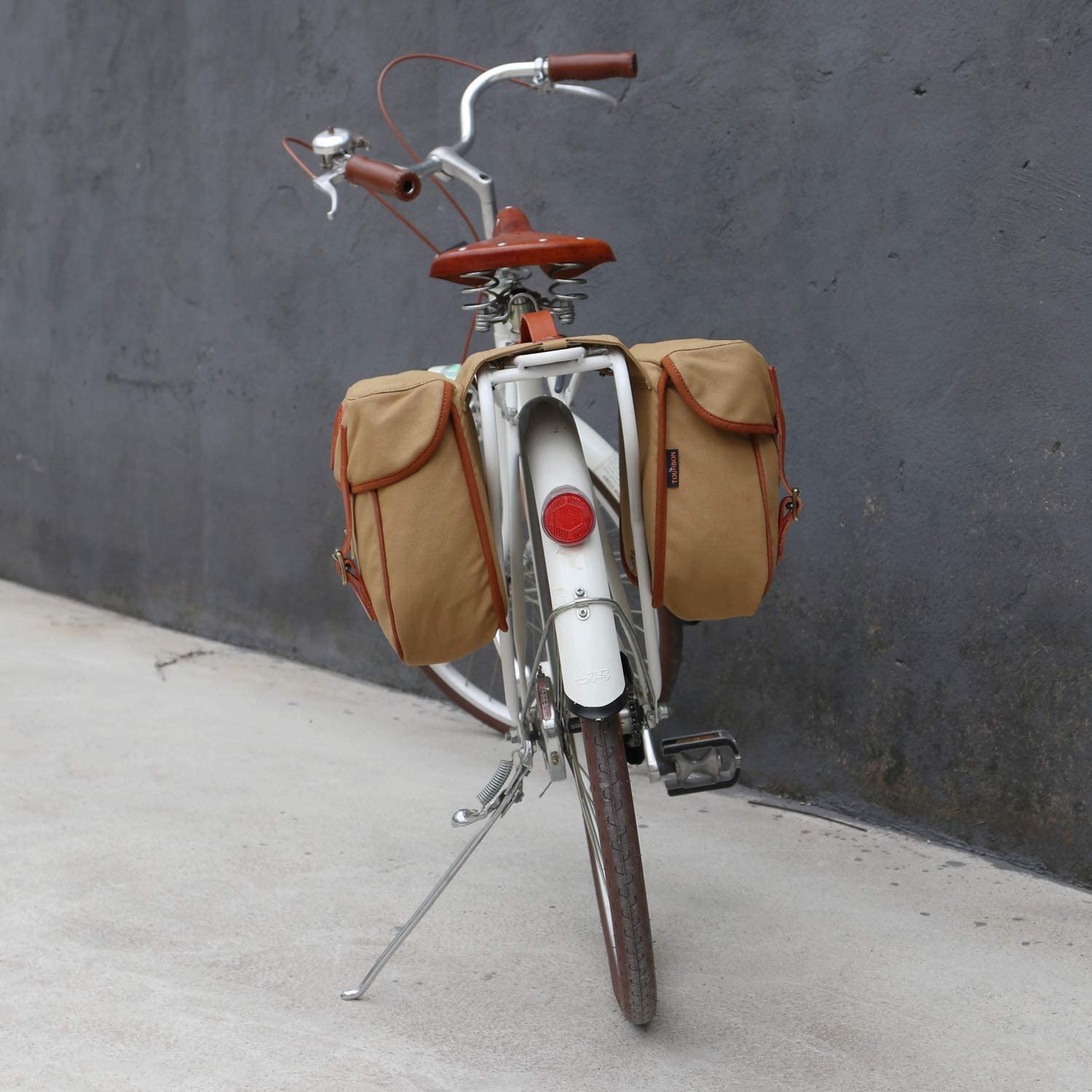 TOURBON Bike Pannier Bags Waterproof Bicycle Rear Rack Tail Bag Canvas and Leather