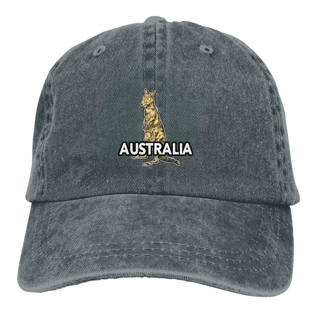 Unisex Adults Vintage Washed Baseball Cap Adjustable Dad Hat - Australian Kangaroo Black