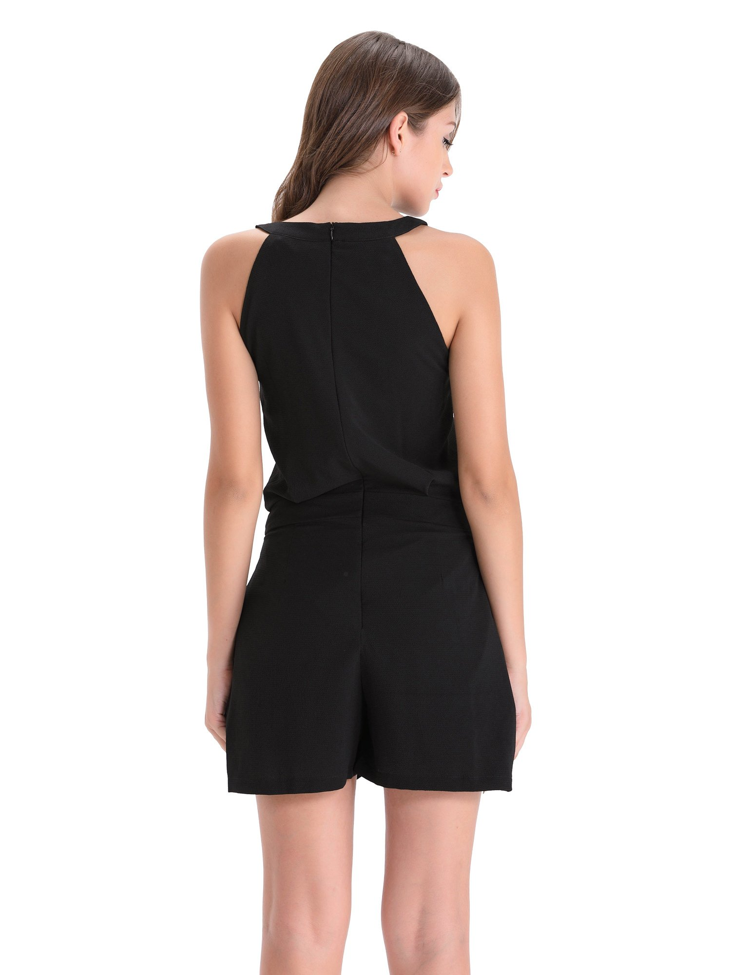 BARGOOS Women All-Black Cut Out Halter Neck Rompers Sleeveless Playsuit Summer Casual High Waist Mini Jumpsuits by BARGOOS (Image #3)