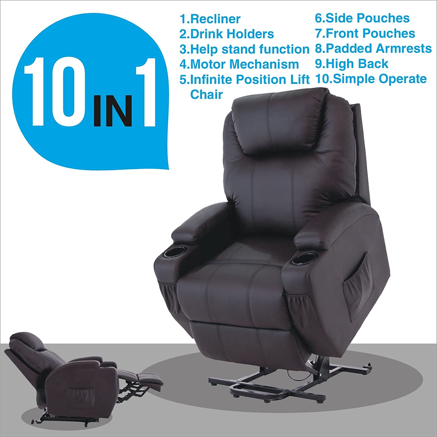Amazon.com Power Lift Real Leather Recliner Chair Wall Hugger Lounge Seat Brown Kitchen u0026 Dining  sc 1 st  Amazon.com & Amazon.com: Power Lift Real Leather Recliner Chair Wall Hugger ... islam-shia.org
